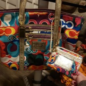 Coach Poppy Tote and Wristlet